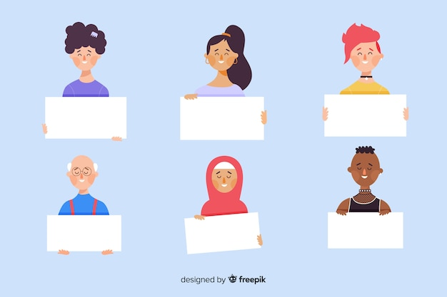 Set of illustrated people holding empty banners Free Vector