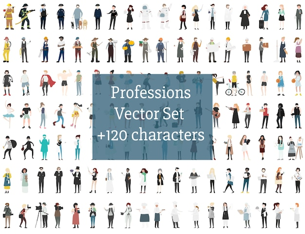 Set of illustrated people Free Vector