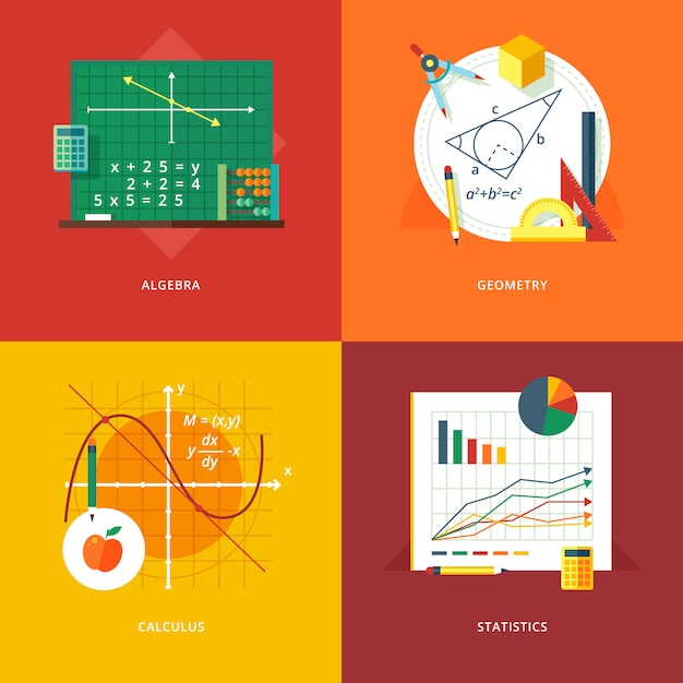 Set of   illustration concepts for algebra, geometry, calculus, statistics.  education and knowledge ideas. mathematic science.  concepts for web banner and promotional material. Premium Vector