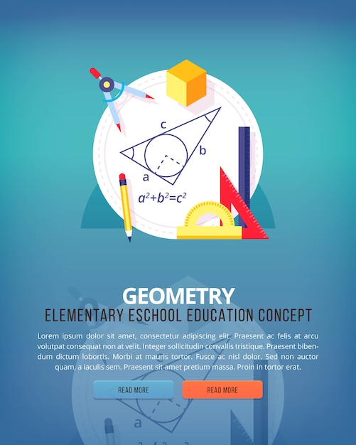 Set of   illustration concepts for geometry education and knowledge ideas. mathematic science. concepts for web banner and promotional material. Premium Vector