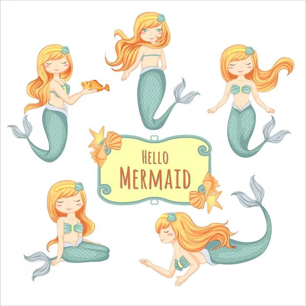 Set of illustration cute little mermaid hand drawn Premium Vector