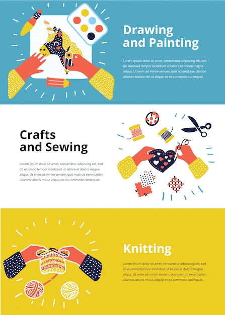 Set of illustration of kids art-working process. top view with creative hands. banner, flyer for kids art lessons or school. knitting, sewing, embroidery, drawing, painting, crafts, appliqu Premium Vector