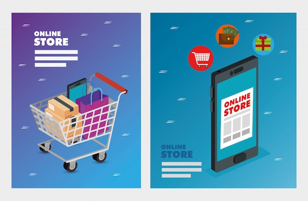 Set illustration online store Premium Vector