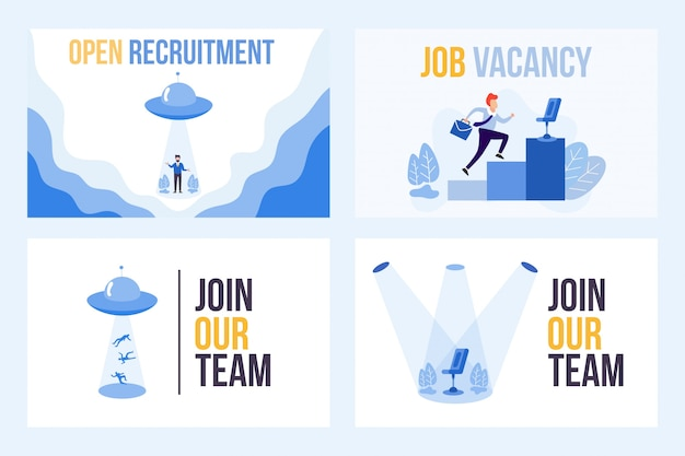 Set illustration of vacancy with we are hiring word. ufo attracts people Premium Vector