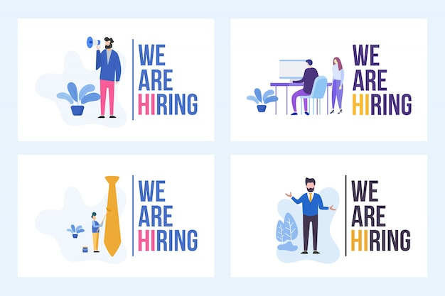 Set illustration of vacancy with we are hiring word Premium Vector
