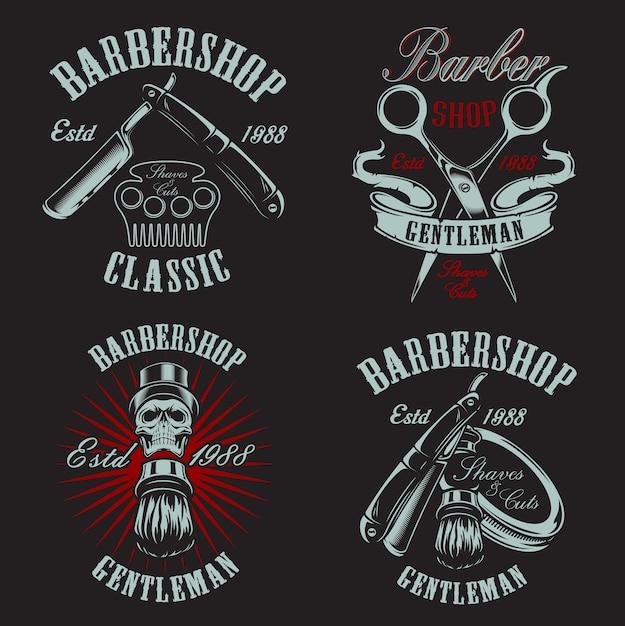 Set illustration in vintage style for barbershop with skull on the dark background. Premium Vector