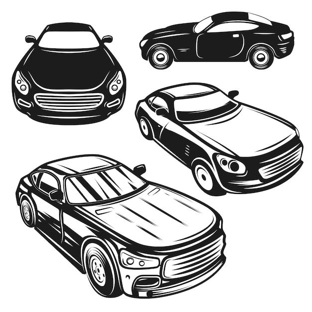 Set of illustrations of cars.  elements for logo, label, emblem, sign, poster.  image Premium Vector