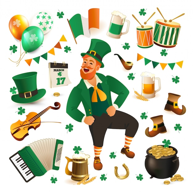 Set of illustrations for celebrating st. patricks day. Premium Vector