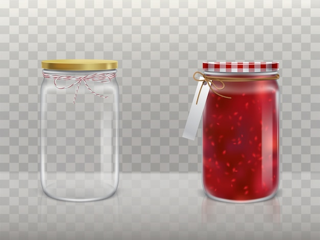 A set of illustrations of glass round jars Free Vector