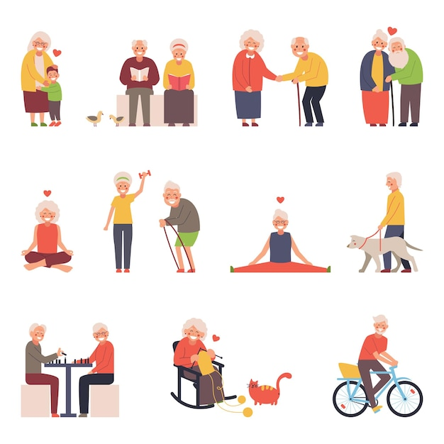 A set of illustrations of a group of old men and women in different situations. free time for the elderly knitting, yoga, sports, socializing. Premium Vector