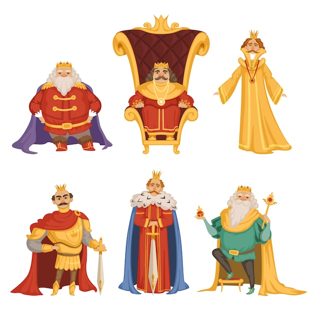 Set illustrations of king in cartoon style Premium Vector