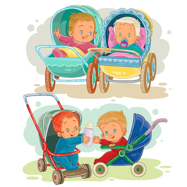 Set illustrations of little kids in a baby carriage and stroller Free Vector