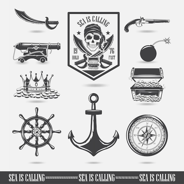 A set of illustrations, marine themes, icons and logos of the skull. pirates vector Premium Vector