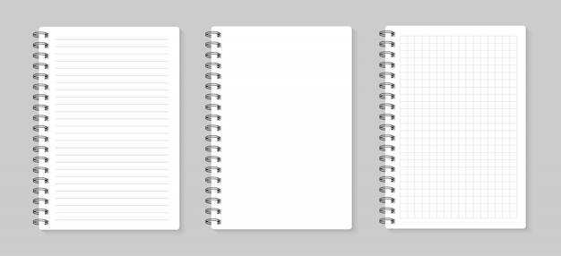 Set of illustrations sheets paper. lined and square, on gray background Premium Vector