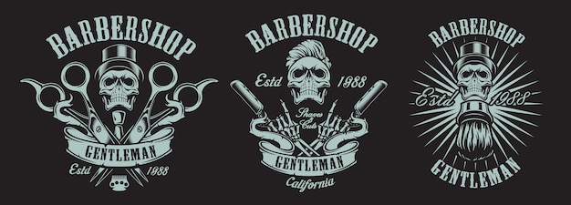 Set of illustrations in vintage style for a barber shop with skulls Premium Vector