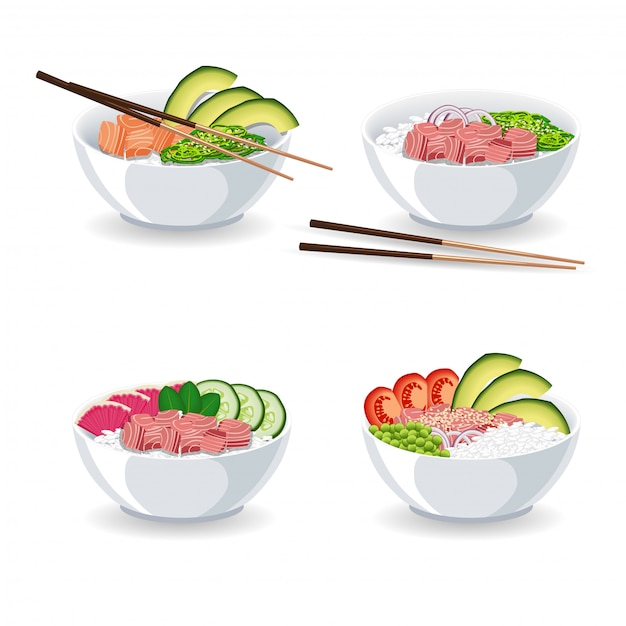 Set of illustrations with different types of poke bowl Premium Vector