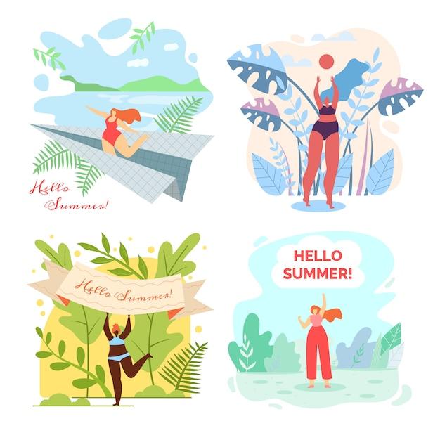 Set of illustrations with written hello summer. Premium Vector