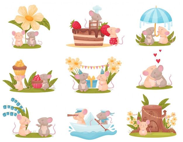 Set of images of cute humanized mice. Premium Vector