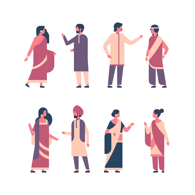 Set indian people group wearing national traditional clothes Premium Vector