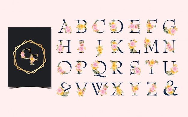 Set of individual alphabet with pretty watercolor flowers Premium Vector