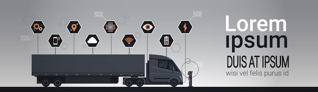 Set of infographic elements with modern semi truck trailer charging at electic charger station template Premium Vector