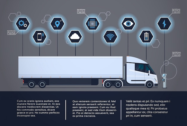 Set of infographic elements with modern semi truck trailer charging at electic charger station Premium Vector