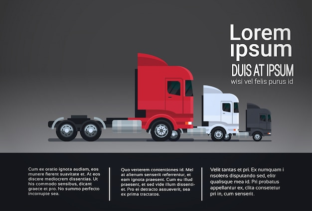 Set of infographic elements with semi truck trailers template banner vehicle side view Premium Vector
