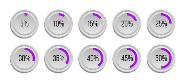 Set of infographic percentage pie charts isolated on white background. segment of circle icons 10% - 100% for web design, user interface (ui) or infographics. Premium Vector