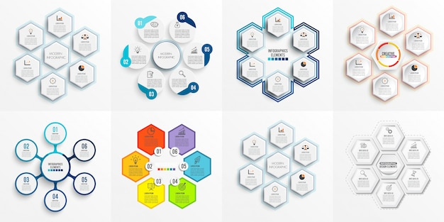 Set infographic template with 3d paper Premium Vector
