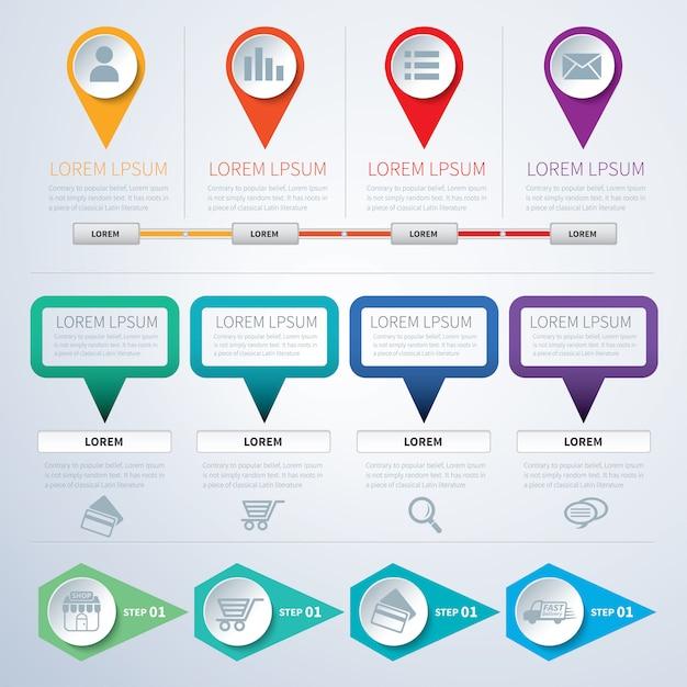 Set of infographic templates flat Premium Vector