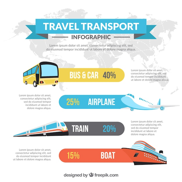 Set of infographic transports in flat design Free Vector