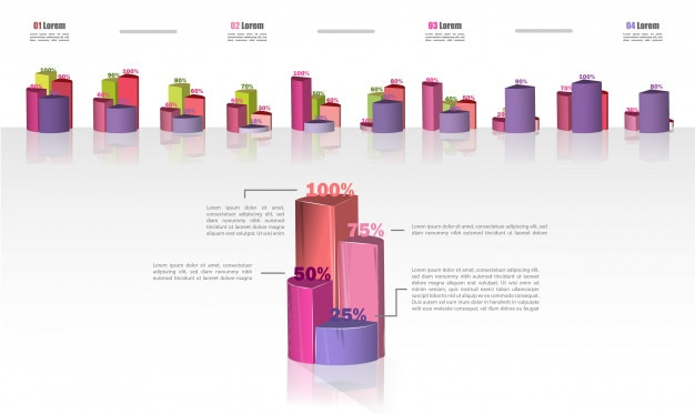 Set infographics of business cycle flow diagrams. Premium Vector