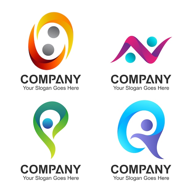 Set of initial letter combination with people shape Premium Vector