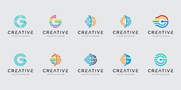 Set of initial letter g logo template Premium Vector