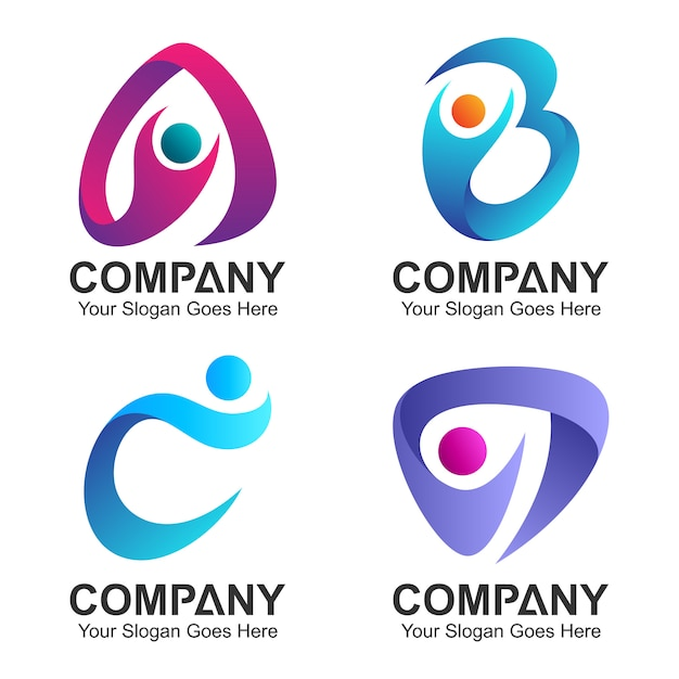 Set of initial letter logo combination with people icons Premium Vector