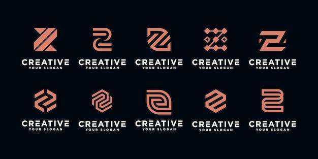 Set of initial letter z monogram logo  template inspiration Premium Vector
