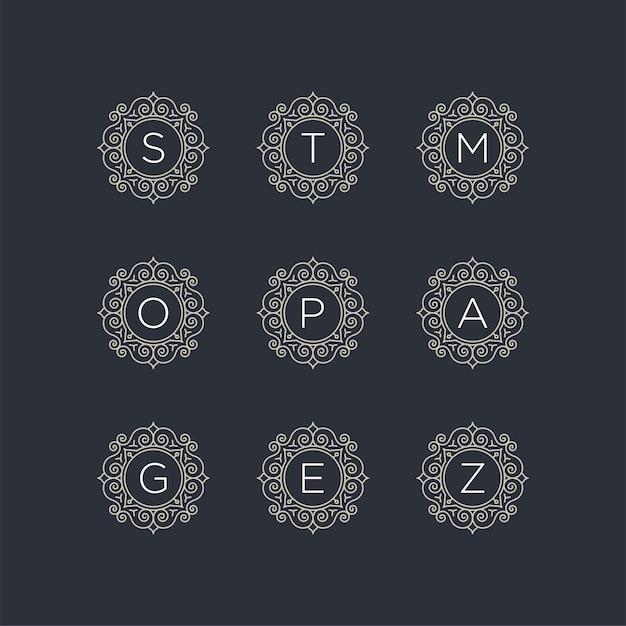 初期のs、t、m、o、p、a、g、e、z、ロゴテンプレートを設定します Premiumベクター