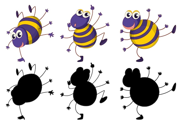 Set of insect cartoon character and its silhouette on white background Free Vector