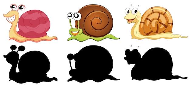 Set di personaggio dei cartoni animati di insetti e la sua silhouette su sfondo bianco Vettore gratuito