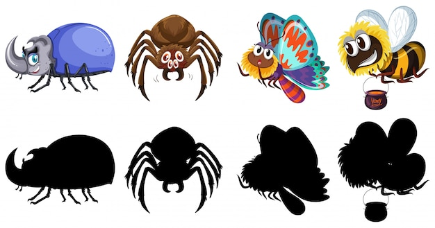 Set of insect character and silhouette Free Vector