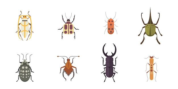 Set of insects flat style design icons Premium Vector