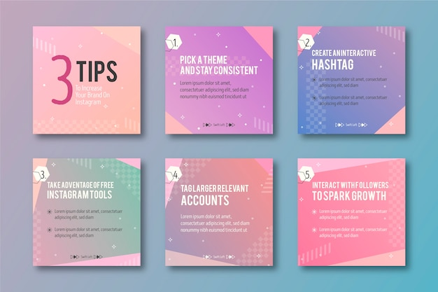 Set of instagram post collection with tips Free Vector