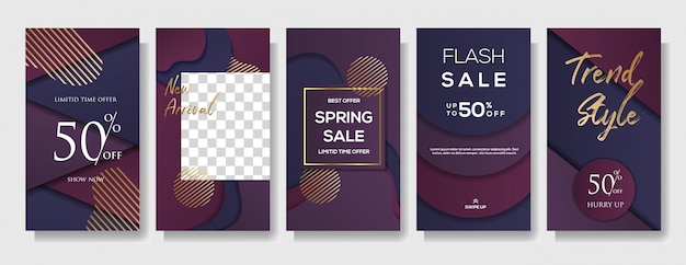 Set of instagram stories sale banner template Premium Vector