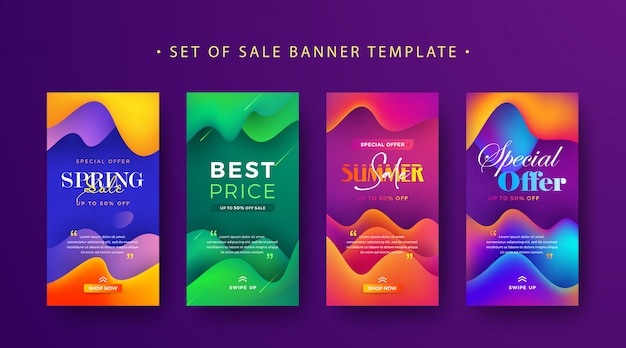 Set of instagram stories sale banner Premium Vector