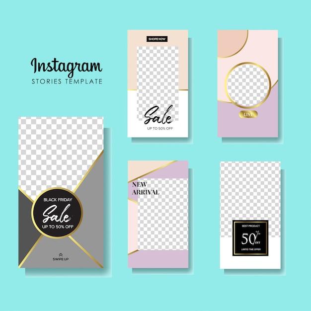 Set of instagram stories sale banner Premium Vector