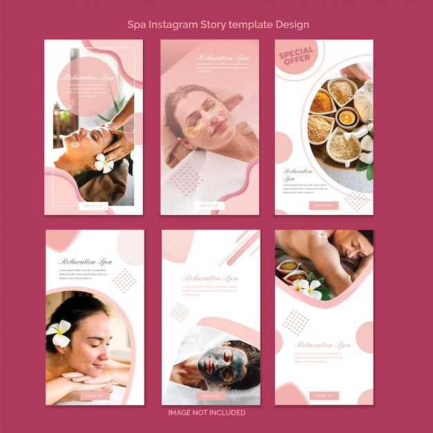 Set of instagram story template design with spa theme, vertical sale banner Premium Vector