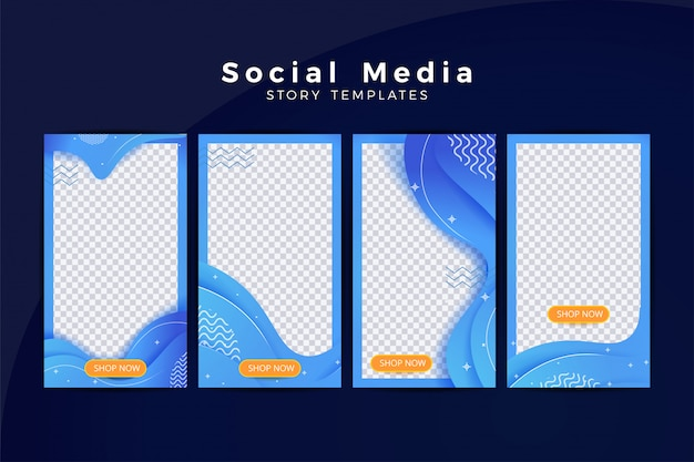 Set of instagram story with wave background element Premium Vector