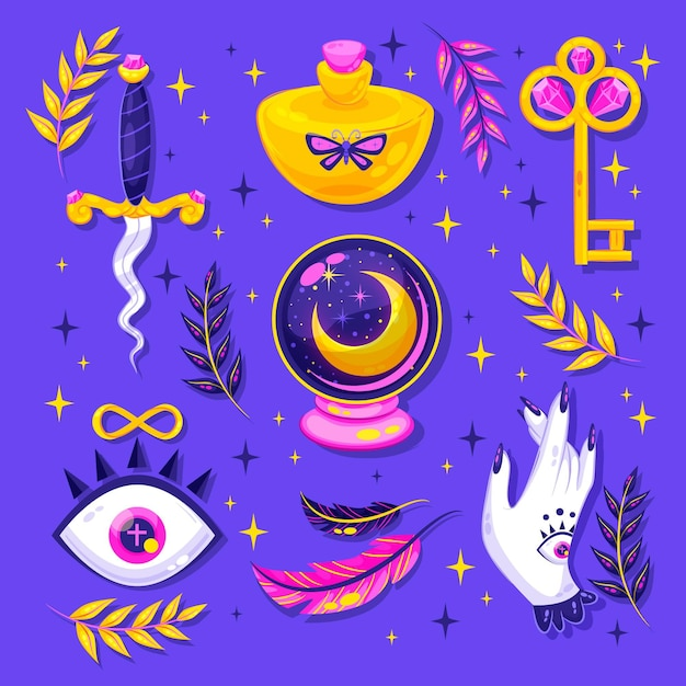 Set of interesting esoteric elements Free Vector