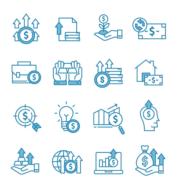 Set of investment icons with outline style Premium Vector