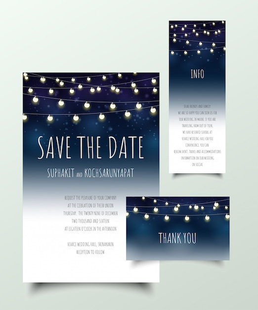 Set Of Invitation Cards With Light Bulb Vector Premium